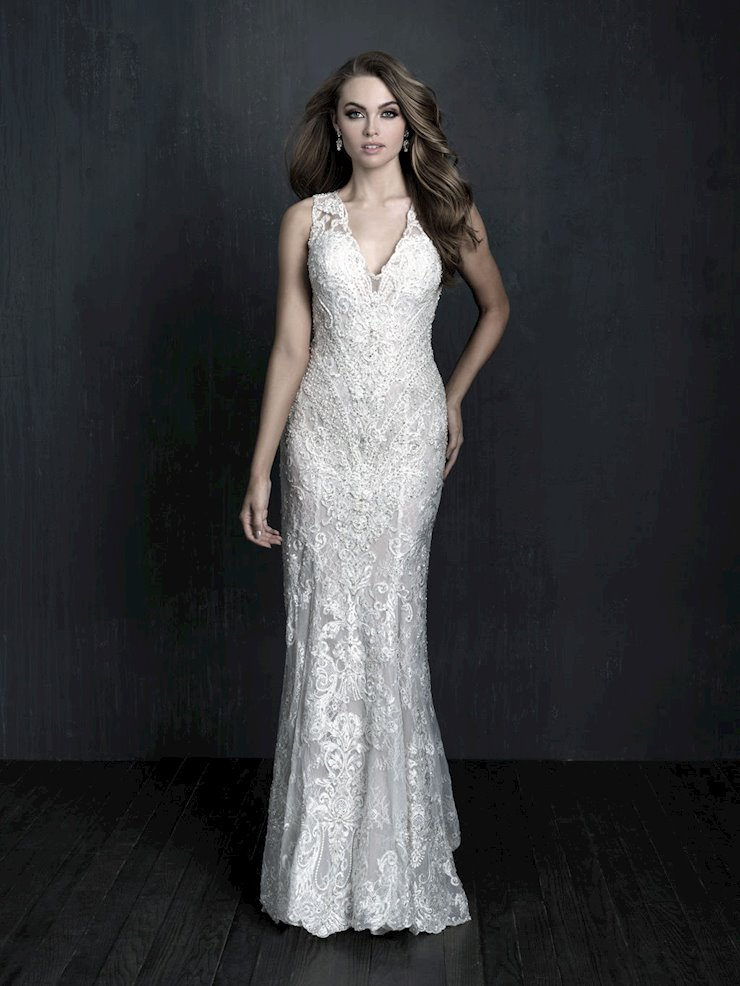 Allure Couture Style #C572 Sleeveless Sheath Wedding Dress with Key Hole Back and Angled Beading, Art Deco Drop Waist  Image
