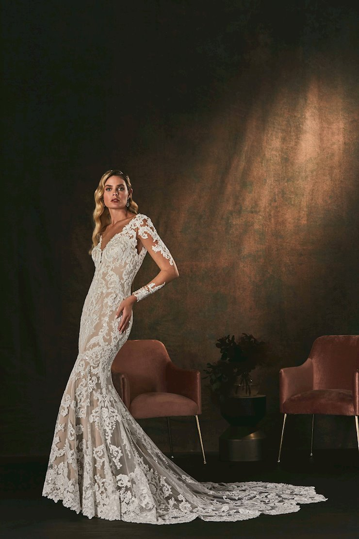 Casablanca Style #C150 Long Sleeve Lace Fit and Flare Wedding Dress in Stretch Chiffon  Image