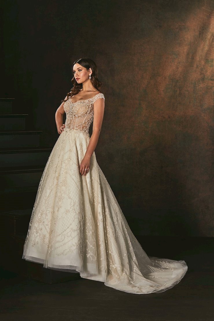 Casablanca Style #C158 Off the Shoulder Beaded A-line Wedding Dress with Unlined Bodice  Image
