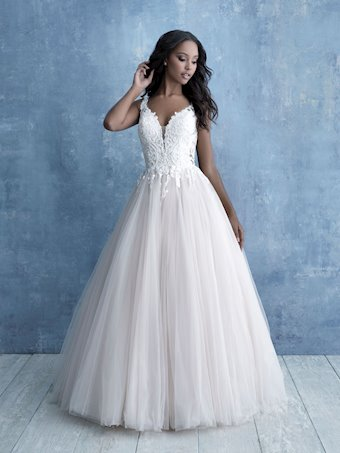 Allure Style #9703 Sleeveless Tulle Ball Gown Wedding Dress with Low Back and Illusion Train