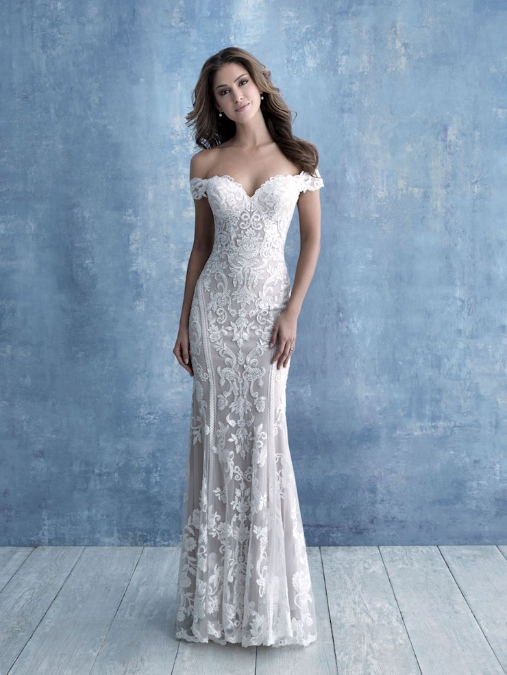 Allure Style #9704 Off the Shoulder Slim fitting Sheath Wedding Dress with Symmetrical Appliques  Image