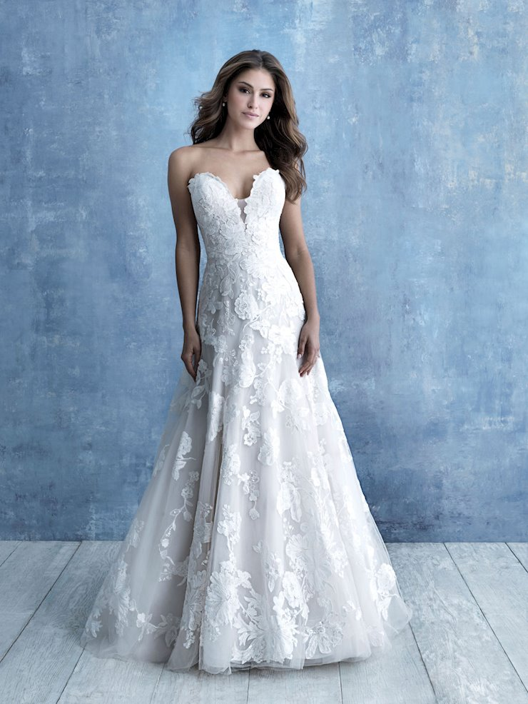 Allure Style #9708 A-line Strapless Wedding Dress with Large Scale Floral Appliques Image
