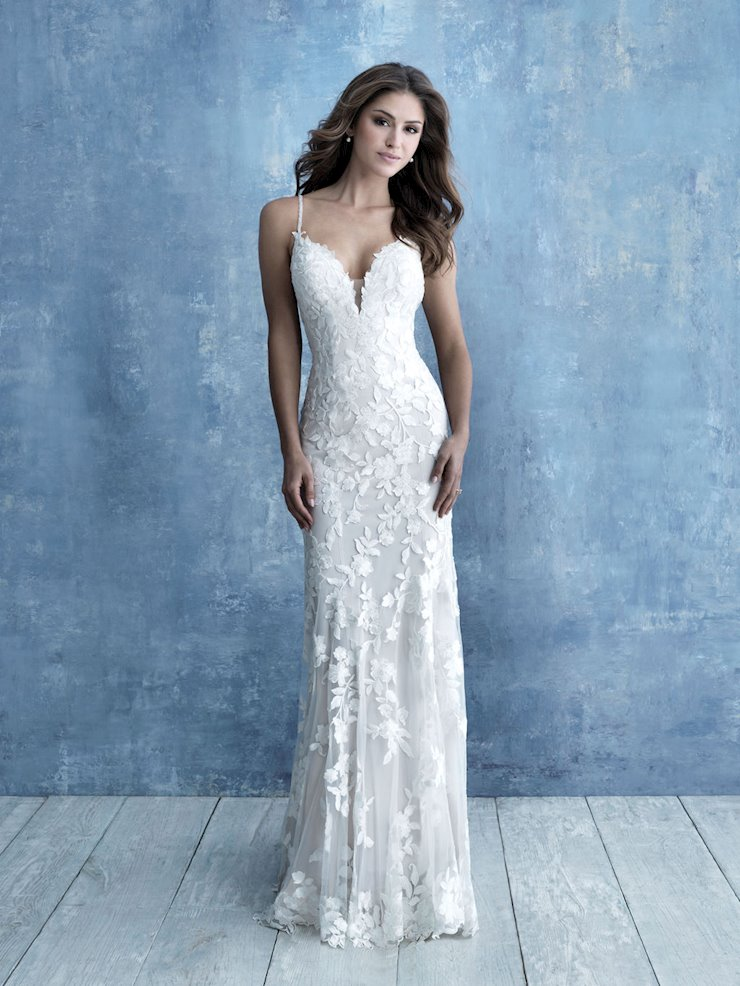 Allure Style #9716 Thin Strap Deep V-neck Sheath Wedding Dress with Sheer Embroidered Train Image