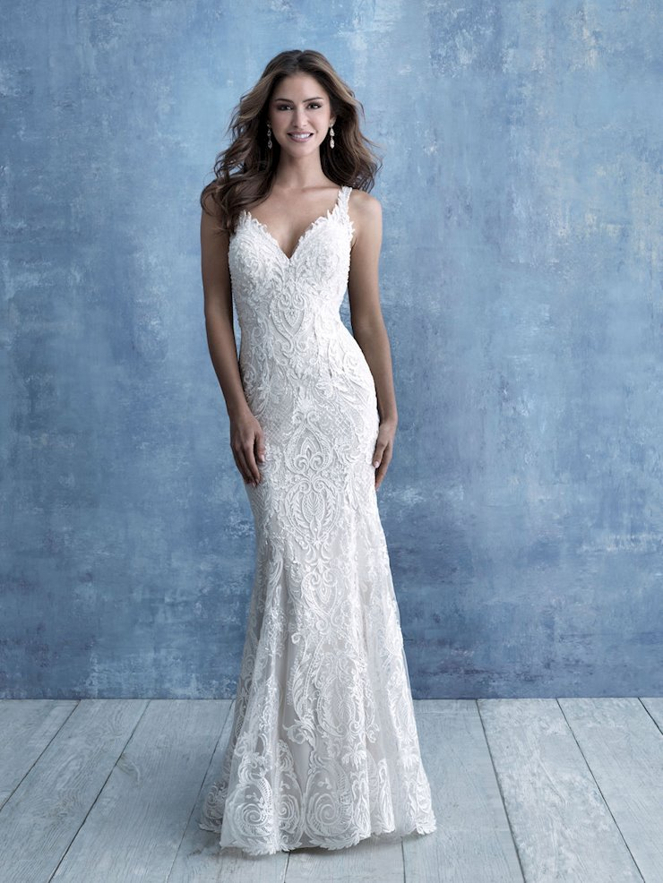 Allure Style #9720 Sleeveless Lace Sheath Wedding Dress with Illusion Back Image