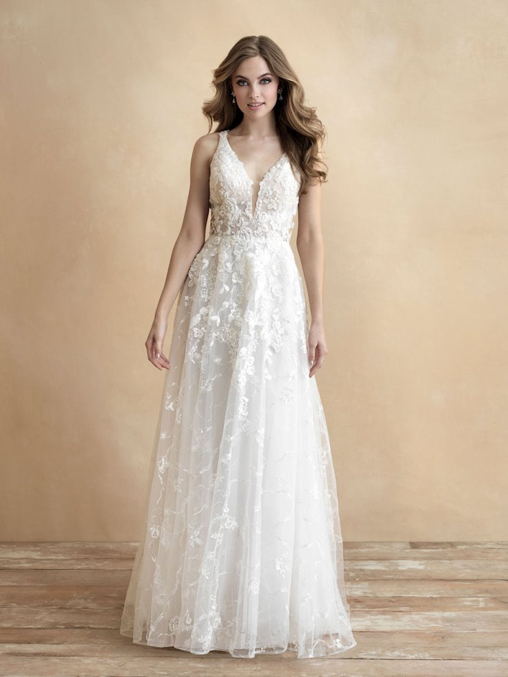 Allure Romance Style #3305 A-line Sleeveless Deep V-neck Wedding Dress with Flowers and Vines Image