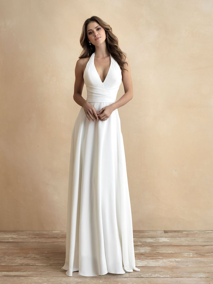 Allure Romance Style #3306 Halter Neckline Sheath Minimalist Wedding Dress  Image