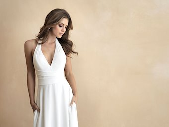 Allure Romance Style #3306 Halter Neckline Sheath Minimalist Wedding Dress