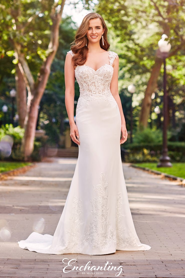 Delicate Lace, Tulle and Crepe Fit and Flare Gown