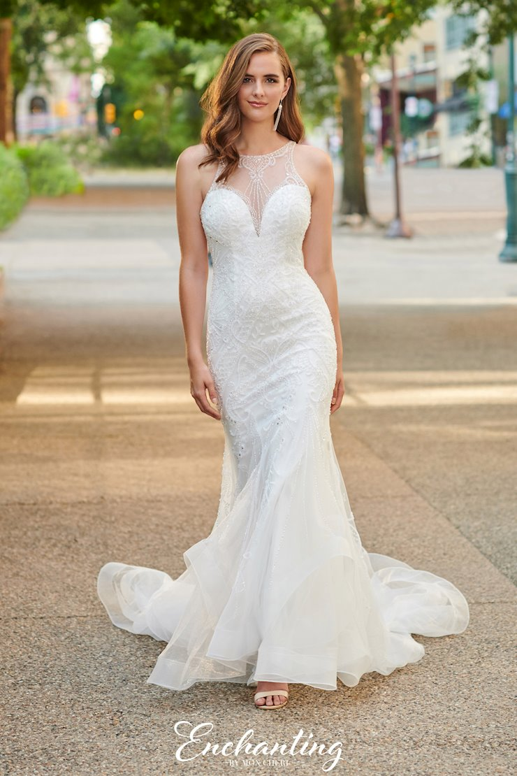 Elegant Beaded Tulle Fit and Flare Gown with Illusion Neck