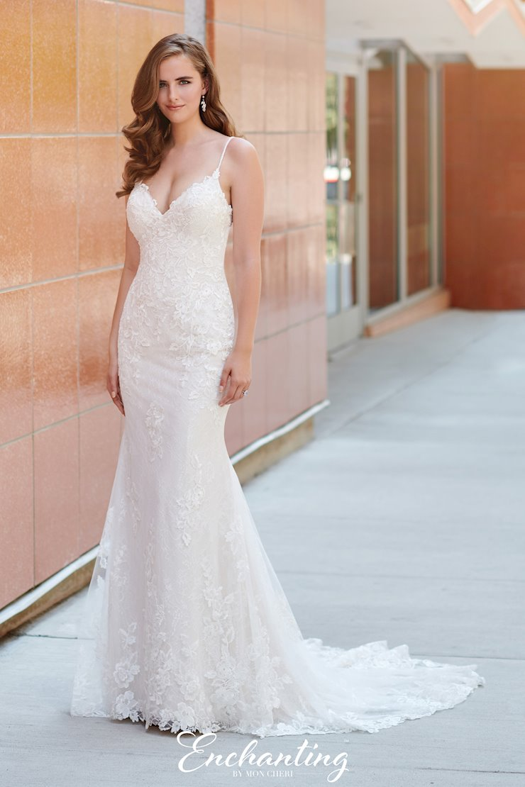 Simple Lace and Chiffon Fit and Flare Gown