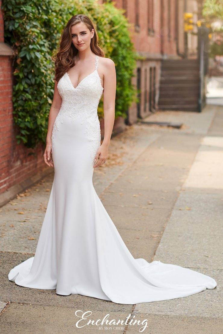 Charming Crepe Fit and Flare Gown with Beaded Straps