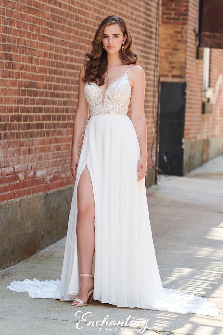 Bohemian Lace and Chiffon A-line Gown with Plunging V-Neck