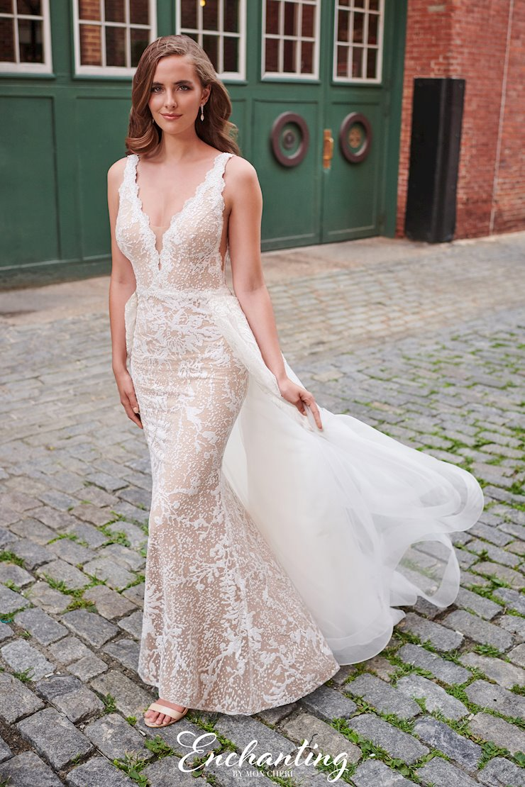 Unique Cracked Ice Gown with Scalloped Lace V-Neck