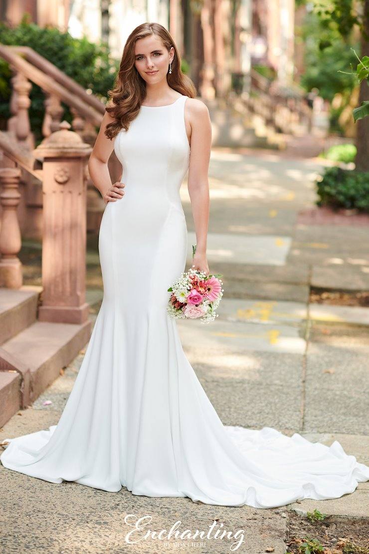 Modern Crepe Fit and Flare Gown with Bateau Neckline