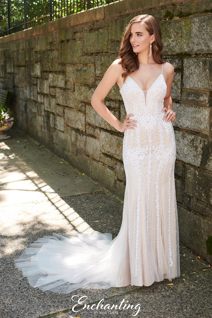 Sexy Beaded Tulle Fit and Flare Gown with V-Neck