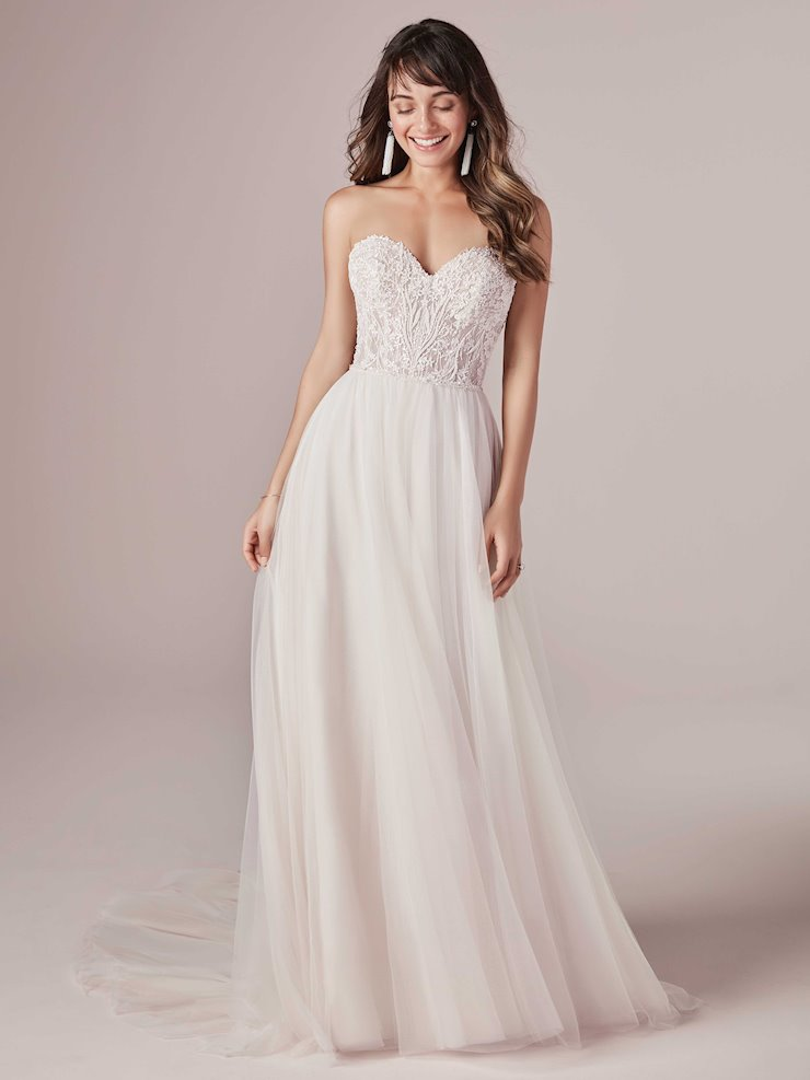 Rebecca Ingram Style #Nia Beaded A-line Wedding Dress with Sheer Lace Top and Beaded Belt Image
