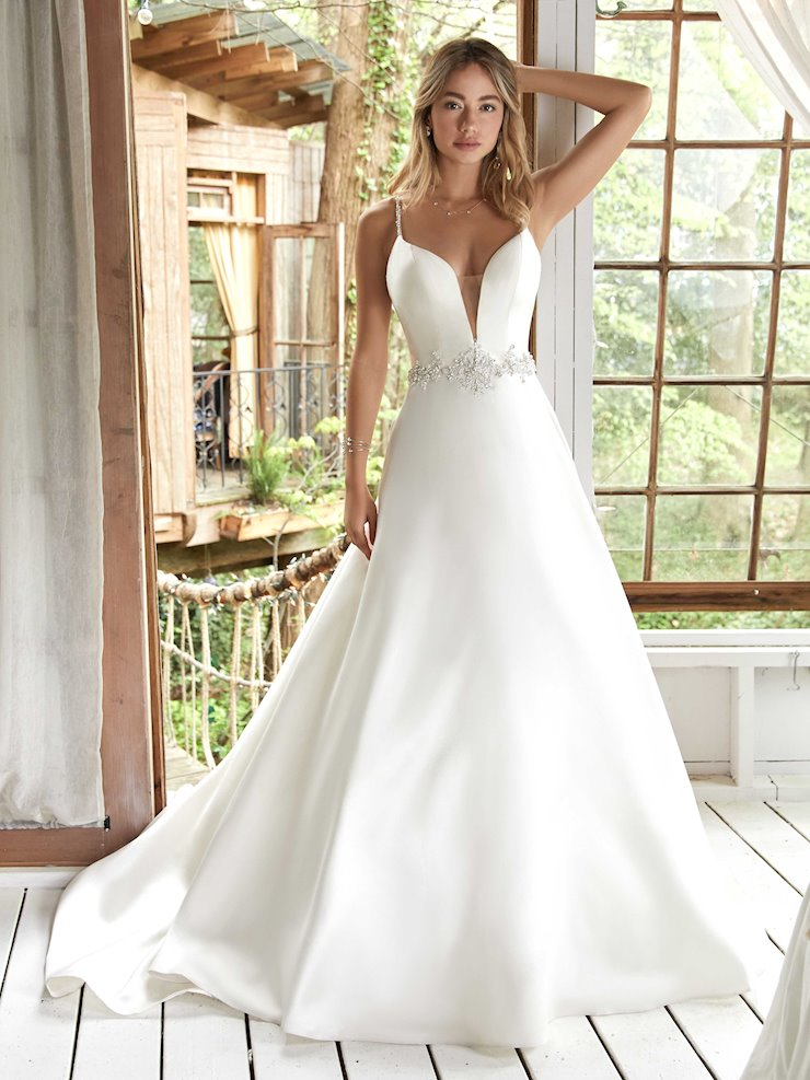 Rebecca Ingram Style #Yara Chic and Simple A-line Wedding Dress with Attached Belt and Beaded Straps Image