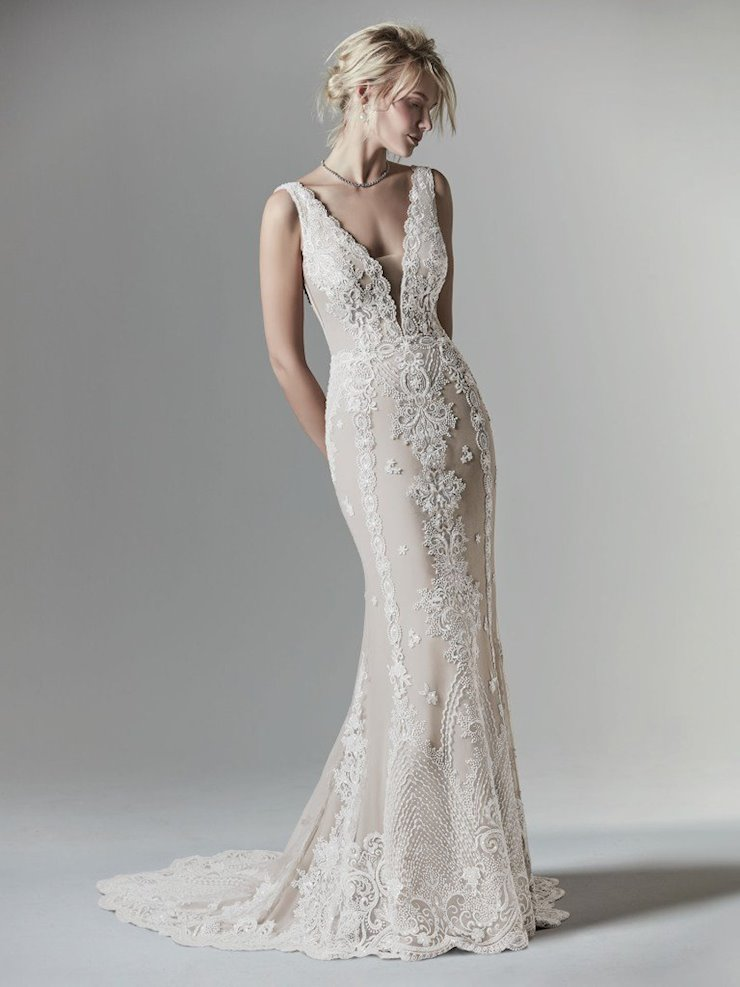 Sottero and Midgley Style #Agata Louise - Boho Sheath Wedding Dress with Illusion Plunging Neckline and Deep V-back Image