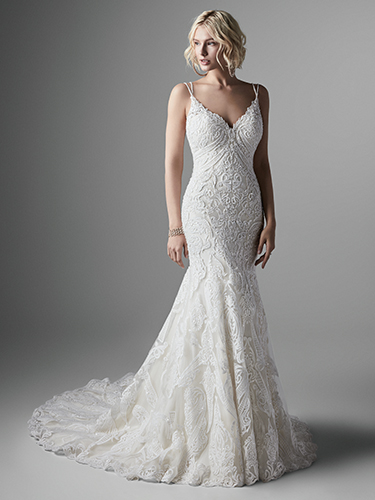 Sottero and Midgley Style #Devon - Lace Fit and Flare Wedding Dress with Double Spaghetti Straps and Bold Beaded Lace Motifs Image