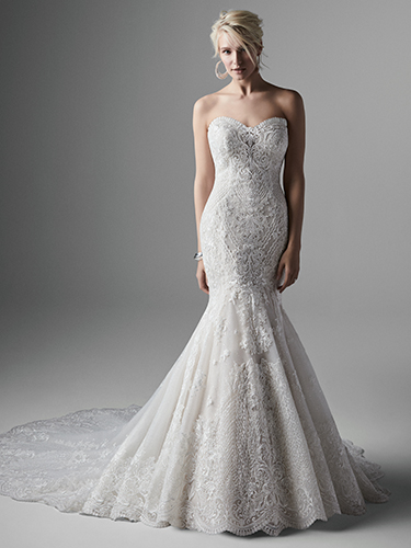 Sottero and Midgley Style #Keaton - Strapless Lace Mermaid Wedding Dress over Sparkle Tulle Image
