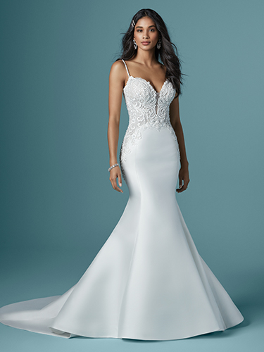 Maggie Sottero Style #Juanita - Mikado Mermaid Wedding Dress with Beaded Thin Straps and Sheer Beaded Lace Bodice Image