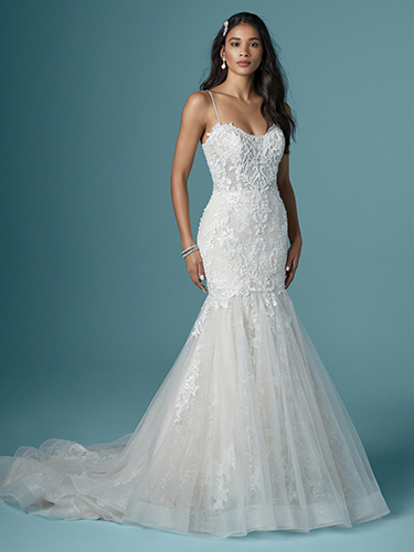 Maggie Sottero Style #Lonnie - Thin Strap Mermaid Wedding Dress with Glitter Tulle Textured Lace and Illusion Neckline  Image
