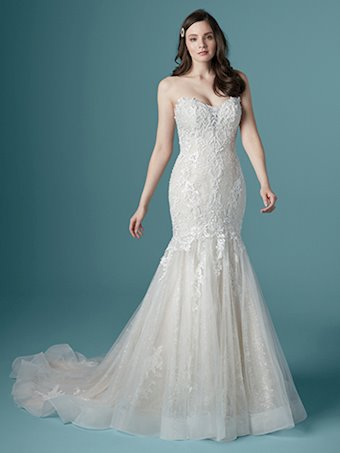 Maggie Sottero Style #Lonnie - Thin Strap Mermaid Wedding Dress with Glitter Tulle Textured Lace and Illusion Neckline