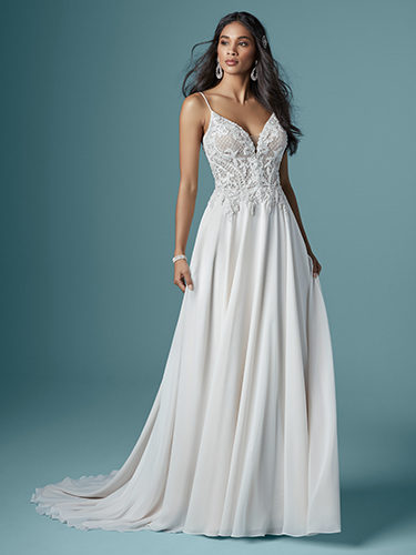 Maggie Sottero Style #Nanette Beaded Deep V-neck Sheath Wedding Dress with Beaded Spaghetti Straps Image