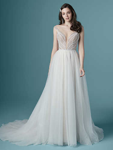 Maggie Sottero Style #Nina Off the Shoulder A-line Wedding Dress with Plunging V and Beaded Top  Image