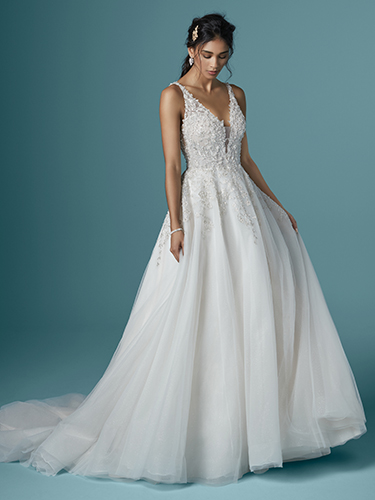 Maggie Sottero Style #Talia Sparkle Tulle Ball Gown Wedding Dress with Plunging V-neck  Image