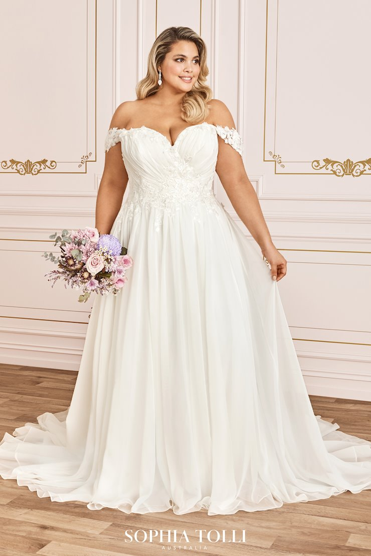 Romantic 3-D Floral Chiffon Wedding Dress Esther