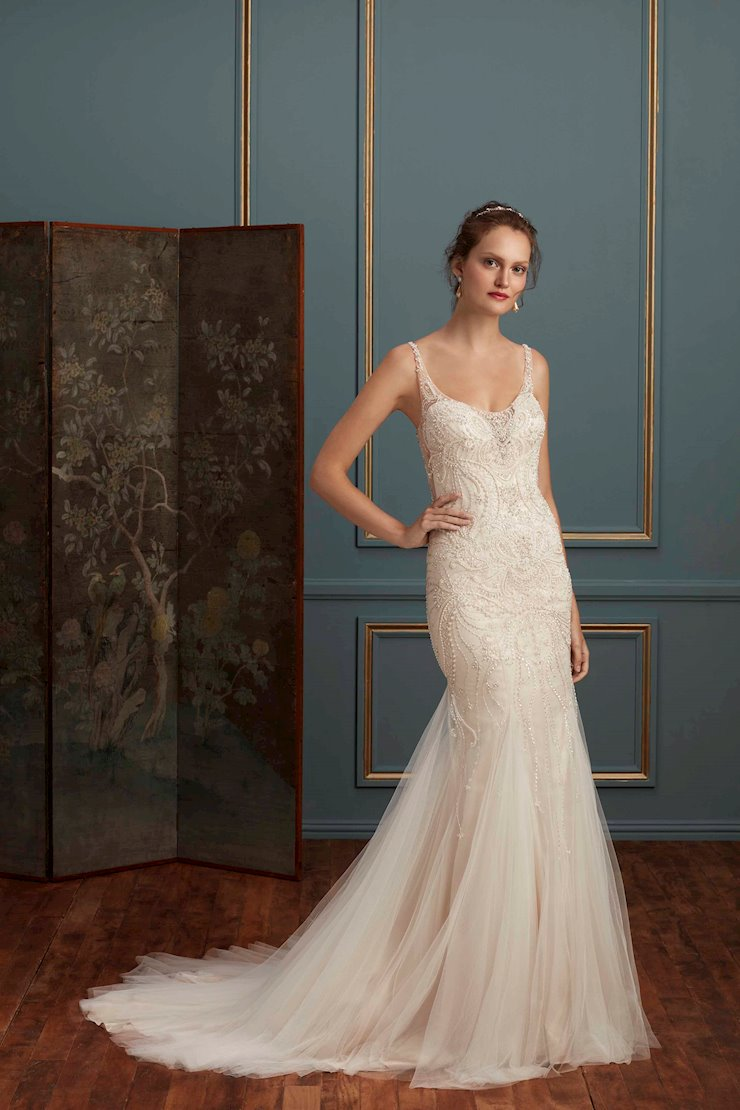 Casablanca Style #C113 Fully Beaded Fit and Flare Wedding Dress Featuring a Deep V Illusion Back Image
