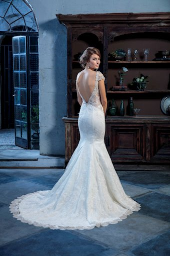Casablanca Style #C130 Beaded Capped Detachable Sleeves on a Low V-neck Mermaid Wedding Dress