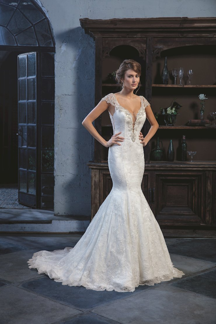 Casablanca Style #C130 Beaded Capped Detachable Sleeves on a Low V-neck Mermaid Wedding Dress  Image