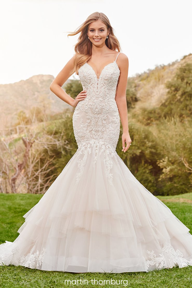 Terra Intricately detailed beaded lace trumpet gown with plunging neckline