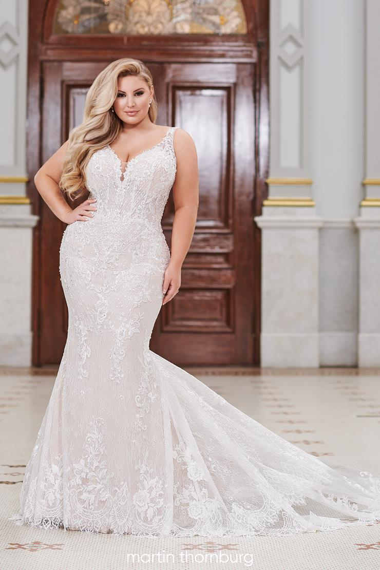Torrance Free-spirited plus size fit and flare gown with floral lace details