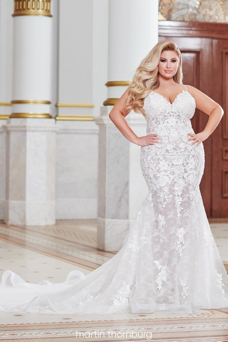 Daryn Flirty plus size mermaid gown with floral lace embroidery
