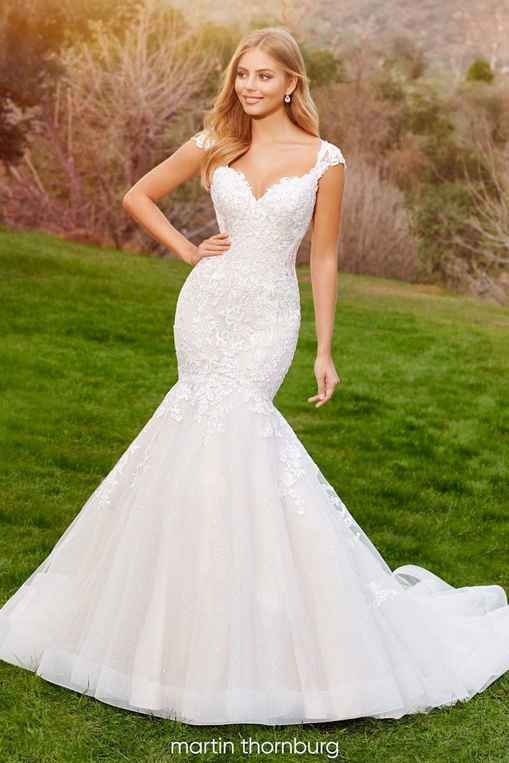 Belleau Sultry and sweet lace over sequin tulle mermaid gown