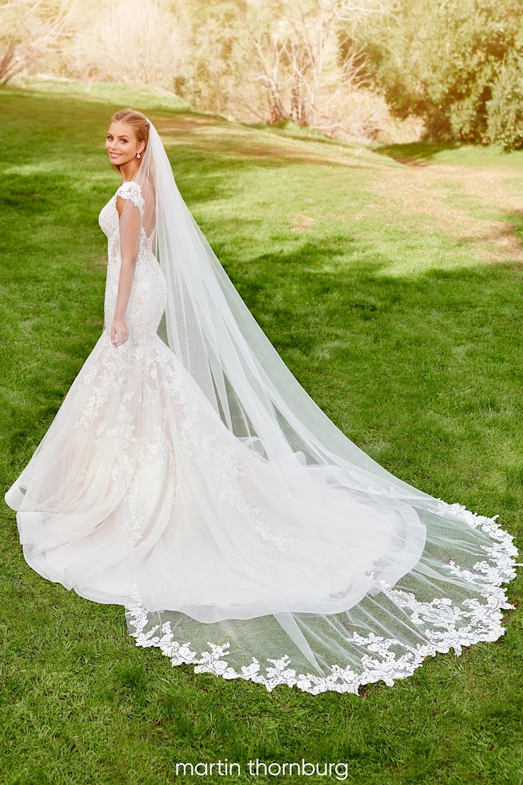 Belleau Veil Schiffli lace and tulle cathedral length veil