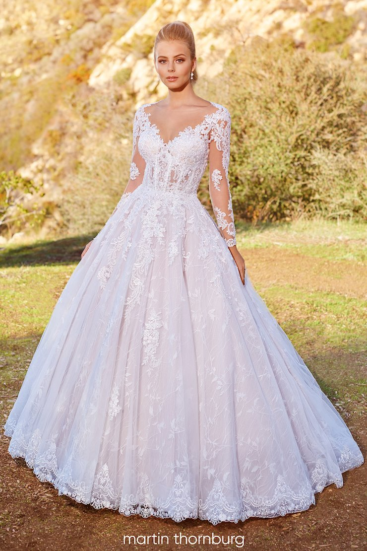 Brier Regal ball gown with sheer lace long sleeves and corset bodice