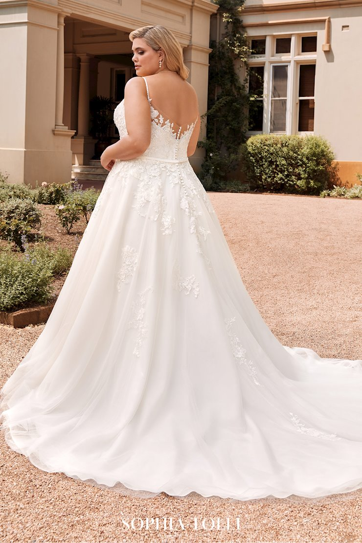 Floral Lace Wedding Dress with Beaded Straps Aurora