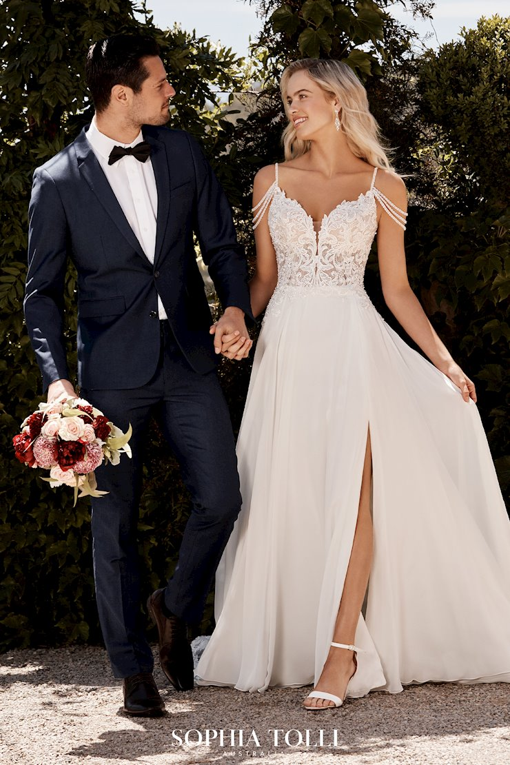 Casual Boho Beach Wedding Dress with Side Slit Saskia