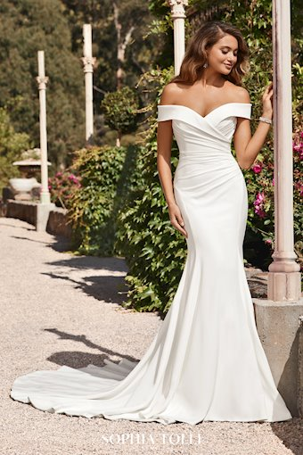Glamorous Crepe Fit and Flare Wedding Gown Emma