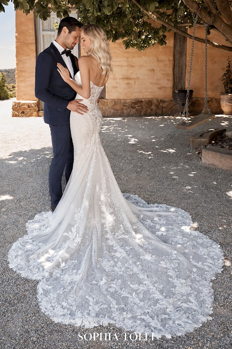 Bespoke Lace Gown with Dramatic Shaped Train Reba