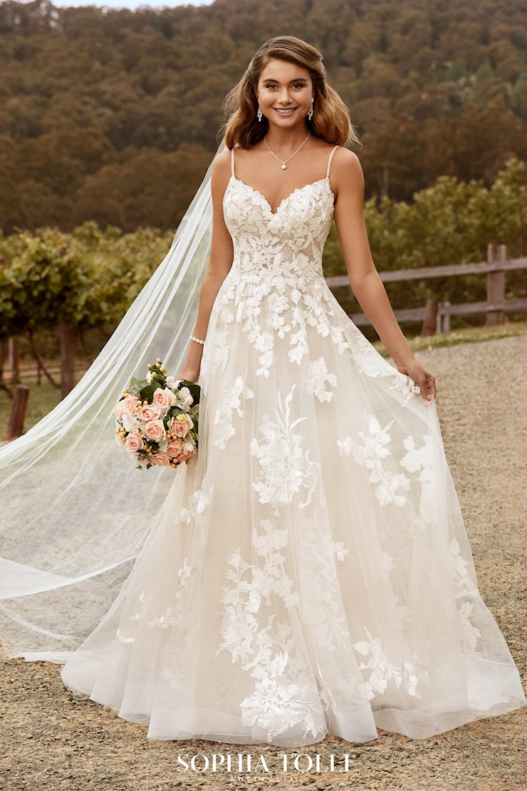 Modern Floral Boho Lace Wedding Dress Nikita