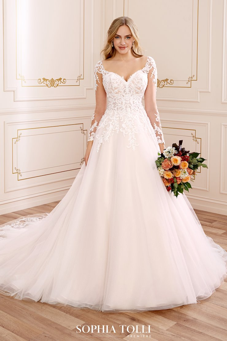 Crystal Embellished Ballgown with Long Sleeves Jasmine Grace