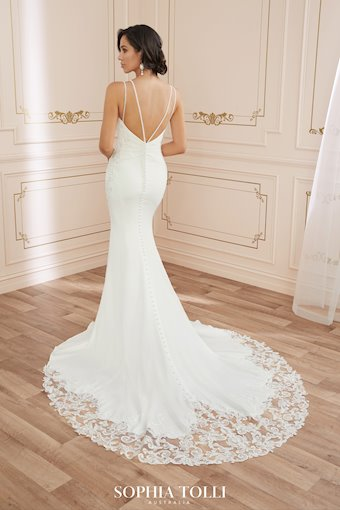 Classic Crepe Gown with Cutout Lace Train Amylynn