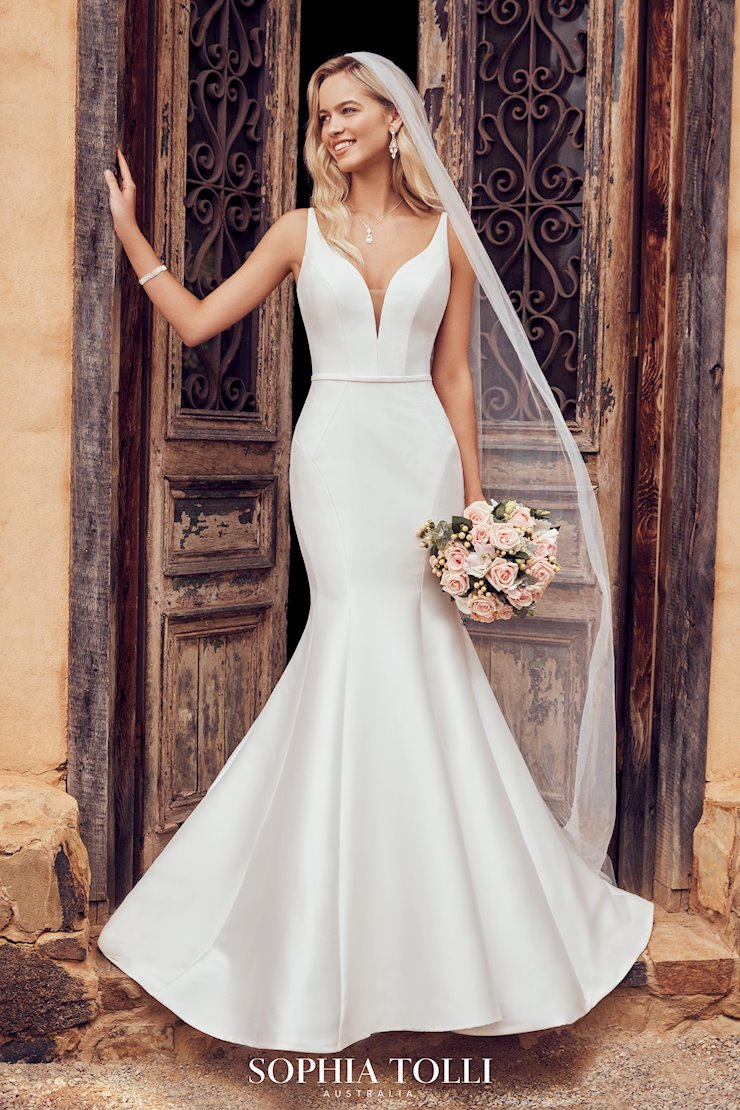 Simple Fit and Flare Gown with Plunging V-Neck Alexis