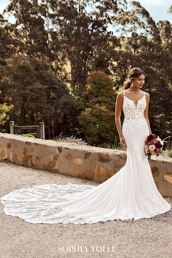 Floral Crepe Wedding Dress with Lace Train Celestina