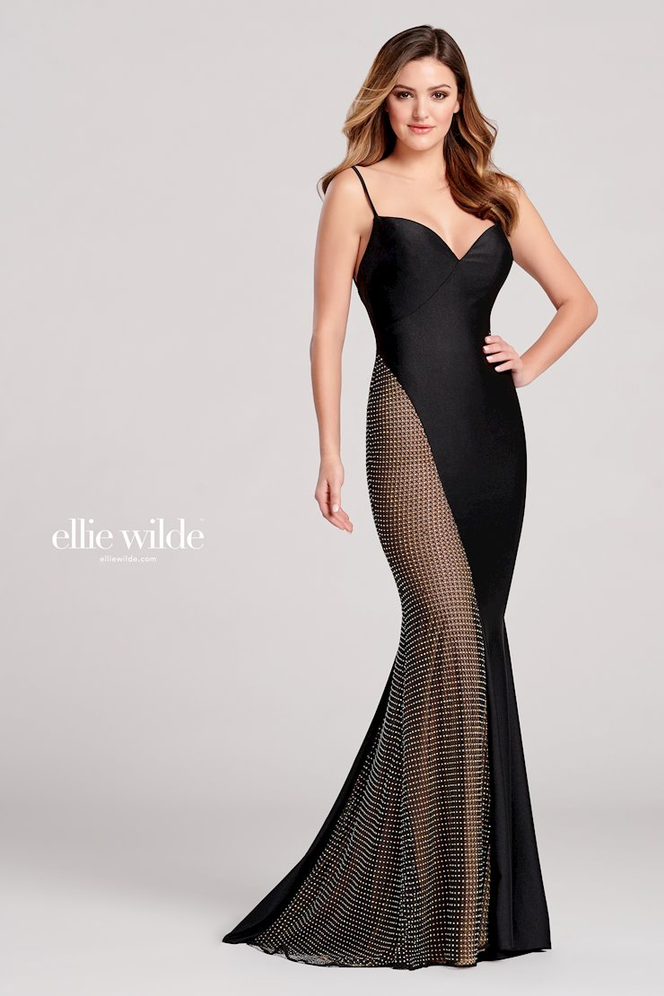 Ellie Wilde Prom Dresses Long Black Sleeveless Evening Gown